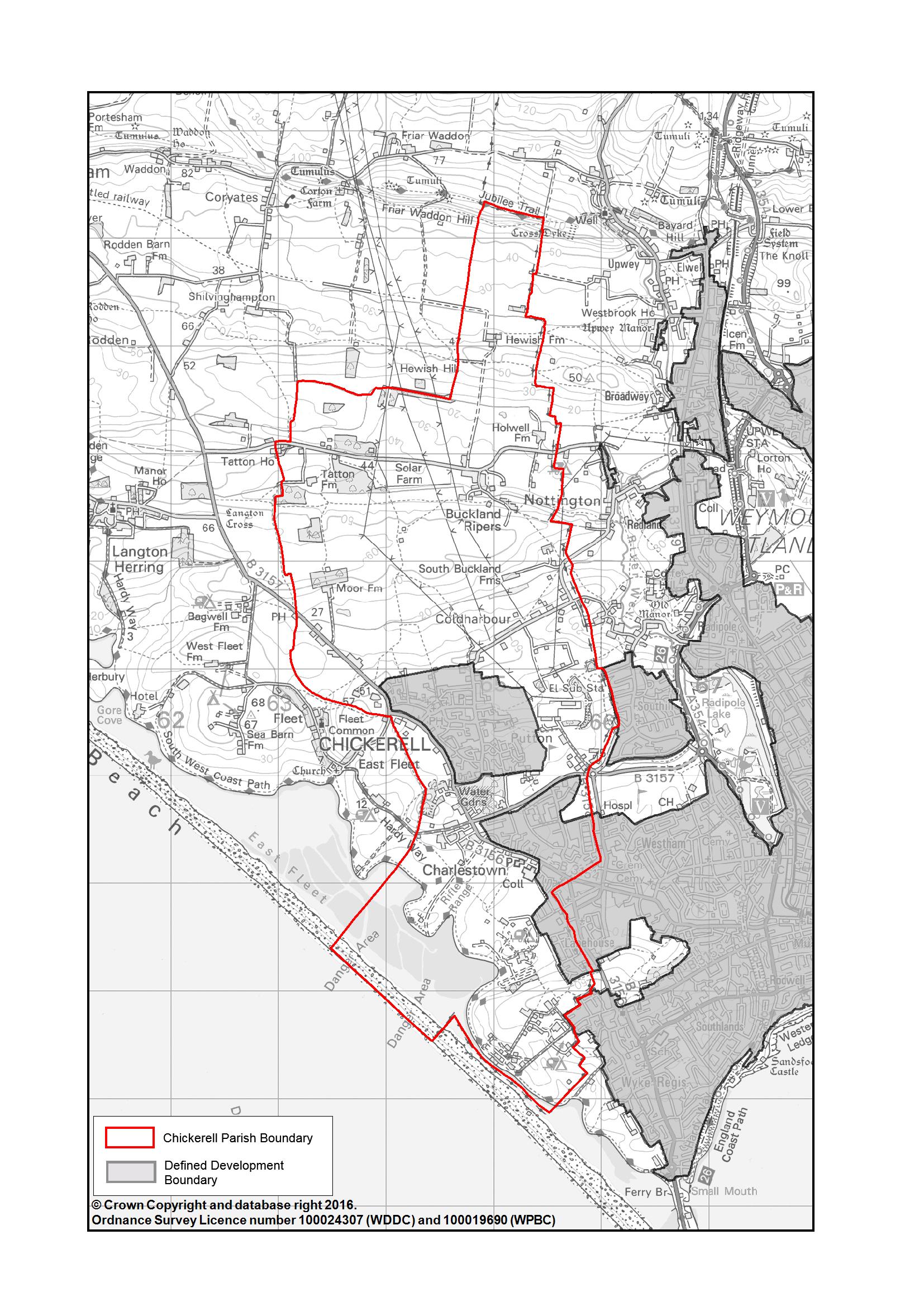 Chickerell-Parish-Area-B_W-red-boundary